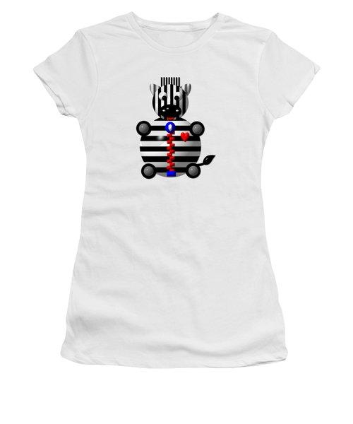 Cute Zebra With A Zipper Women's T-Shirt (Junior Cut) by Rose Santuci-Sofranko