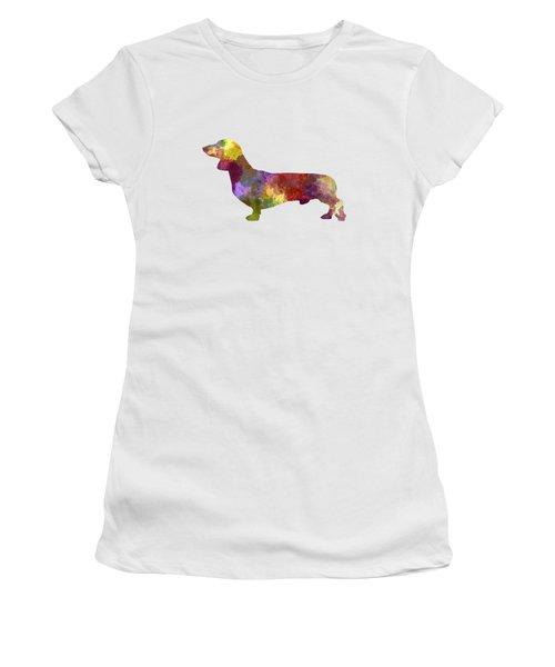 Dachshund In Watercolor Women's T-Shirt (Junior Cut) by Pablo Romero
