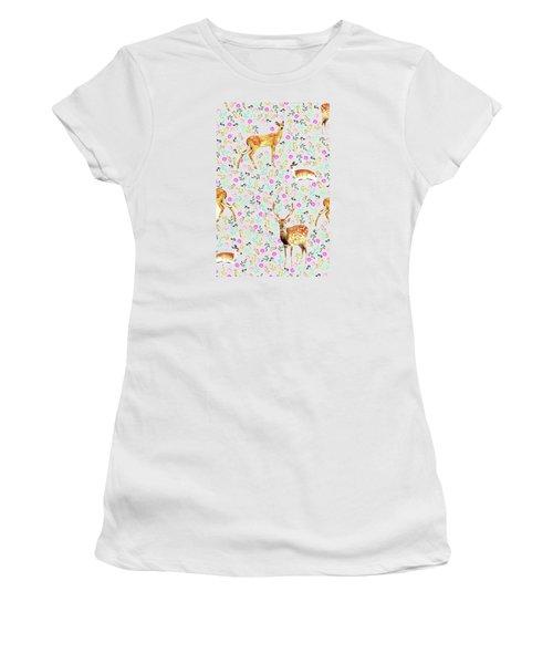 Deers Women's T-Shirt (Junior Cut) by Uma Gokhale