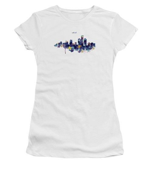 Detroit Skyline Silhouette Women's T-Shirt (Junior Cut) by Marian Voicu