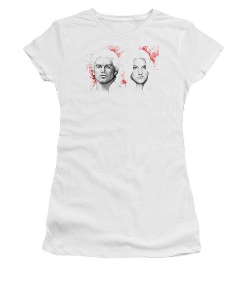 Dexter And Debra Morgan Women's T-Shirt (Junior Cut) by Olga Shvartsur