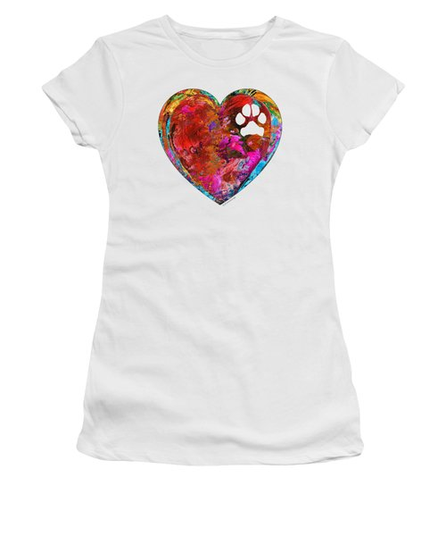 Dog Art - Puppy Love 2 - Sharon Cummings Women's T-Shirt (Junior Cut) by Sharon Cummings