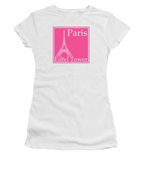 Eiffel Tower In French Pink Women's T-Shirt (Junior Cut) by Custom Home Fashions