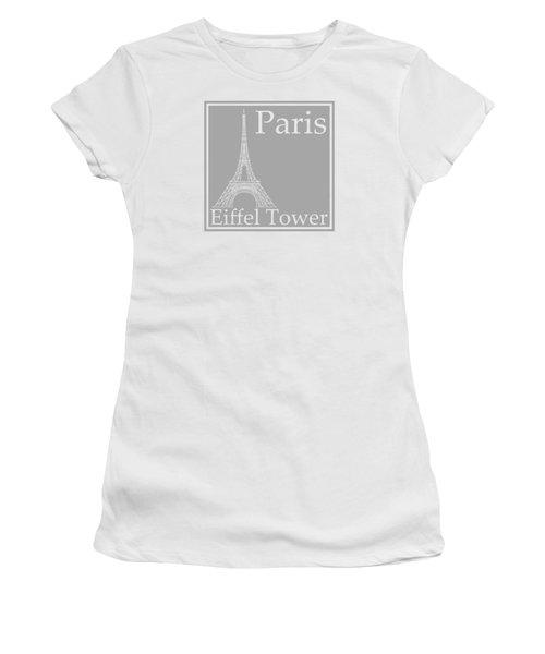 Eiffel Tower In Gray Women's T-Shirt (Junior Cut) by Custom Home Fashions