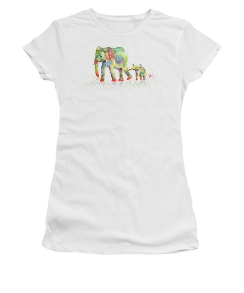 Elephant Family Watercolor  Women's T-Shirt (Junior Cut) by Melly Terpening