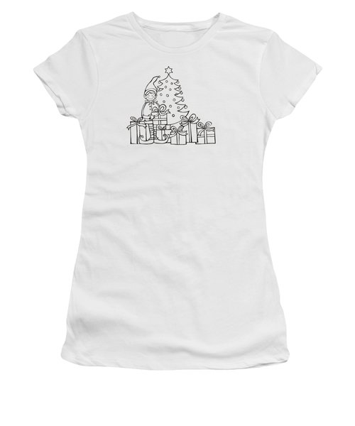 Elf And Presents  Women's T-Shirt (Junior Cut) by Mantra Y