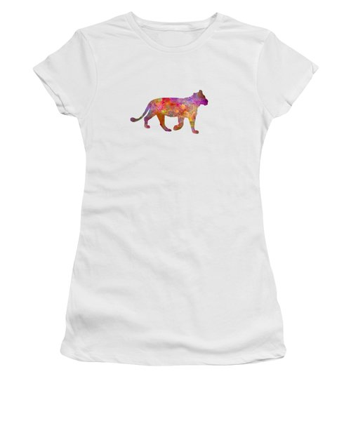 Female Lion 01 In Watercolor Women's T-Shirt (Junior Cut) by Pablo Romero