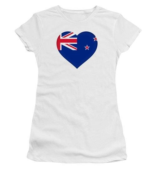 Flag Of New Zealand Heart Women's T-Shirt (Junior Cut) by Roy Pedersen