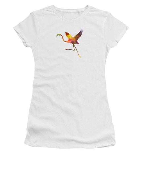 Flamingo 02 In Watercolor Women's T-Shirt (Junior Cut) by Pablo Romero