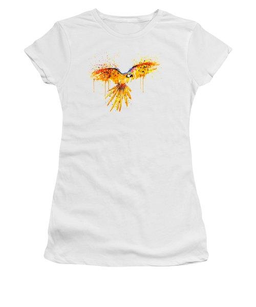 Flying Parrot Watercolor Women's T-Shirt (Junior Cut) by Marian Voicu