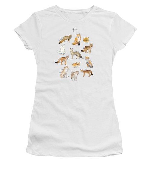 Foxes Women's T-Shirt (Junior Cut) by Amy Hamilton