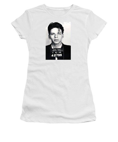 Frank Sinatra Mug Shot Vertical Women's T-Shirt (Junior Cut) by Tony Rubino