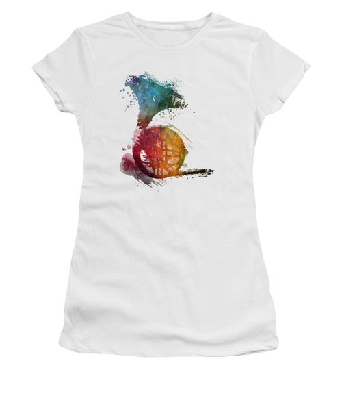French Horn Colored Musical Instruments Women's T-Shirt (Junior Cut) by Justyna JBJart
