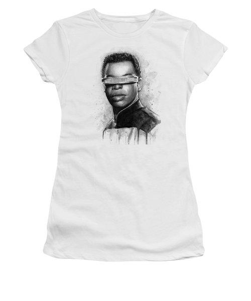 Geordi La Forge - Star Trek Art Women's T-Shirt (Junior Cut) by Olga Shvartsur
