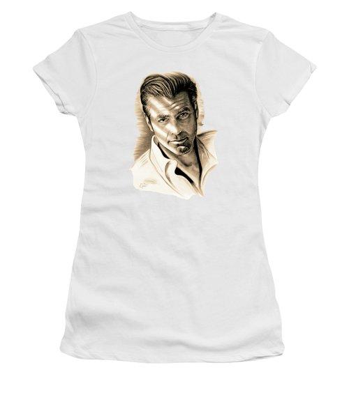 George Clooney Women's T-Shirt (Junior Cut) by Gitta Glaeser