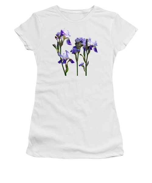 Group Of Purple Irises Women's T-Shirt (Junior Cut) by Susan Savad
