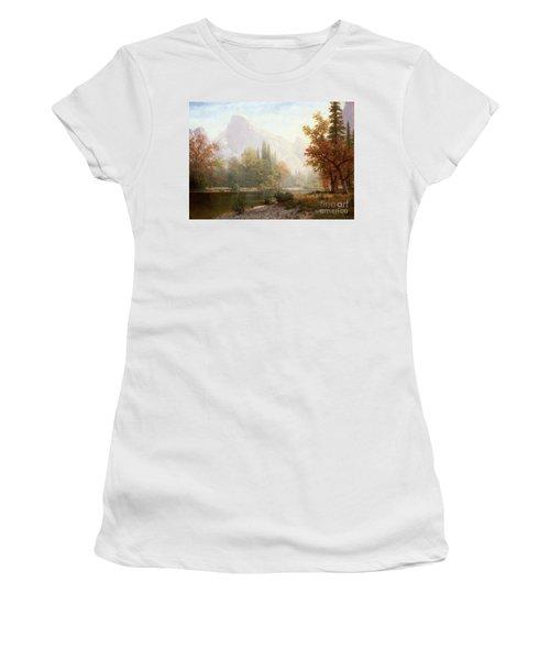 Half Dome Yosemite Women's T-Shirt (Junior Cut) by Albert Bierstadt