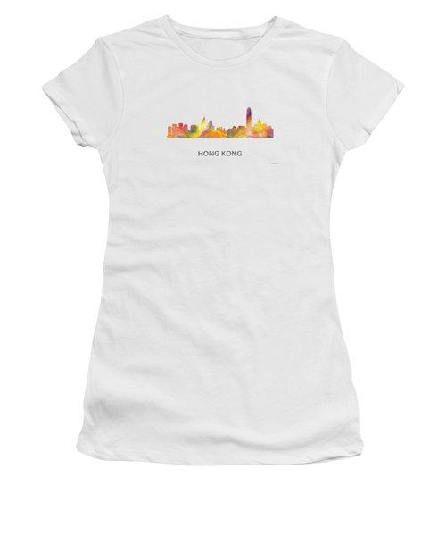 Hong Kong China Skyline Women's T-Shirt (Junior Cut) by Marlene Watson