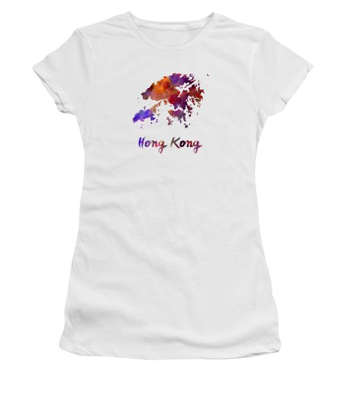 Hong Kong In Watercolor Women's T-Shirt (Junior Cut) by Pablo Romero