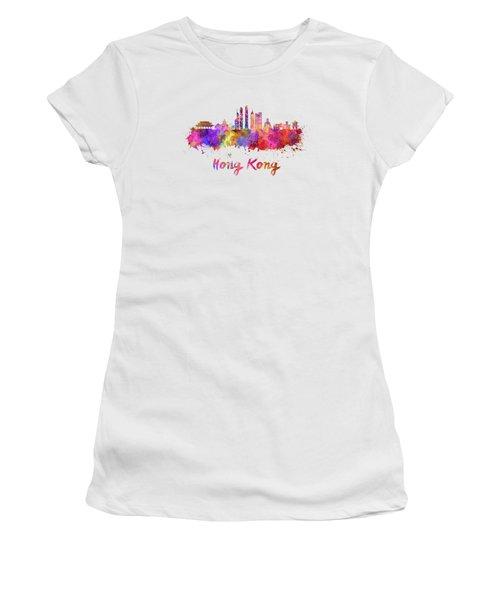 Hong Kong V2 Skyline In Watercolor Women's T-Shirt (Junior Cut) by Pablo Romero