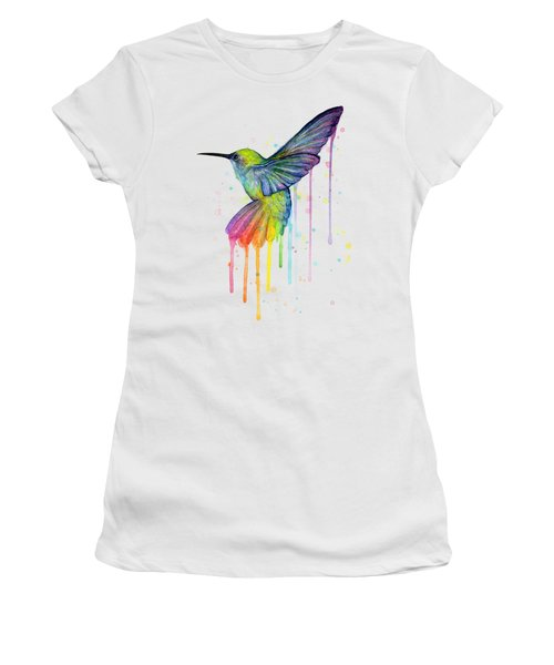 Hummingbird Of Watercolor Rainbow Women's T-Shirt (Junior Cut) by Olga Shvartsur