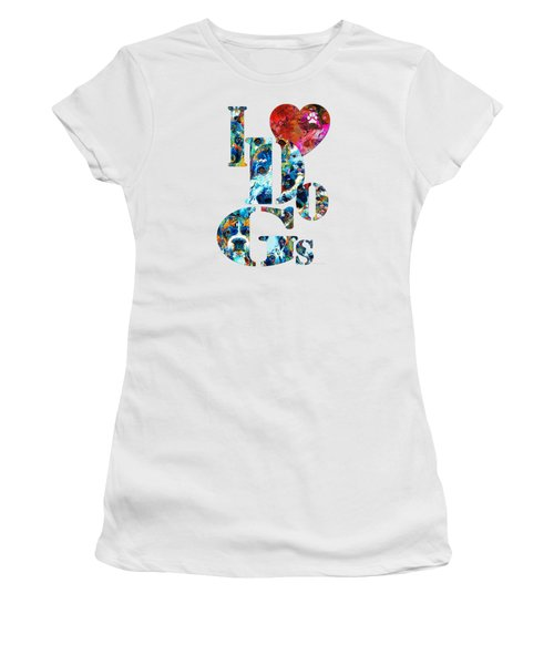 I Love Dogs By Sharon Cummings Women's T-Shirt (Junior Cut) by Sharon Cummings