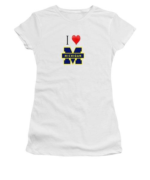I Love Michigan Women's T-Shirt (Junior Cut) by Pat Cook