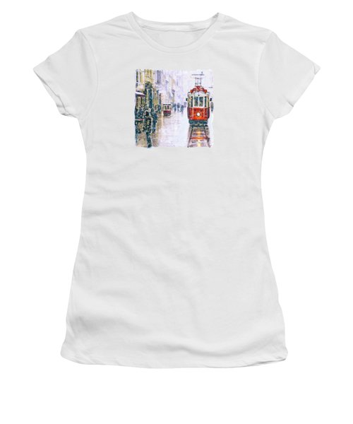 Istanbul Nostalgic Tramway Women's T-Shirt (Junior Cut) by Marian Voicu