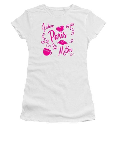 J'adore Paris Le Matin Women's T-Shirt (Junior Cut) by Antique Images
