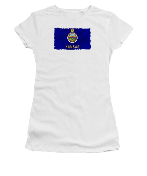 Kansas Flag Women's T-Shirt (Junior Cut) by World Art Prints And Designs