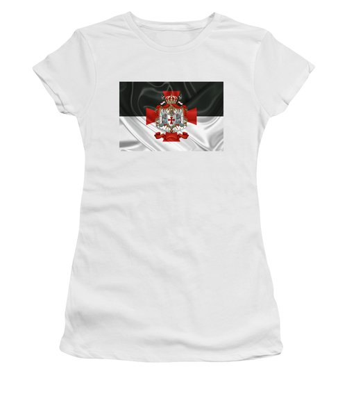Knights Templar - Coat Of Arms Over Flag Women's T-Shirt (Junior Cut) by Serge Averbukh