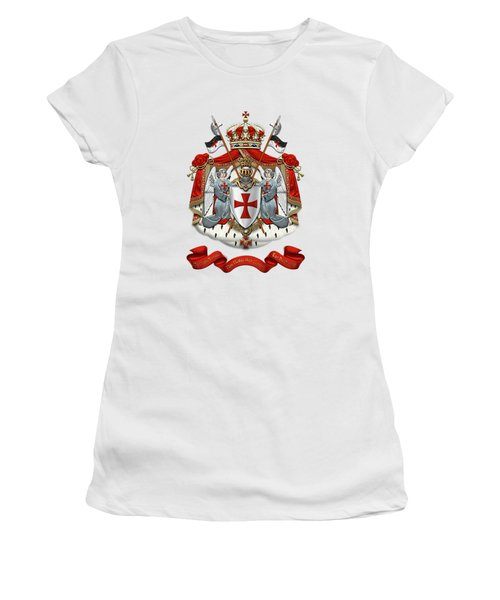 Knights Templar - Coat Of Arms Over White Leather Women's T-Shirt (Junior Cut) by Serge Averbukh