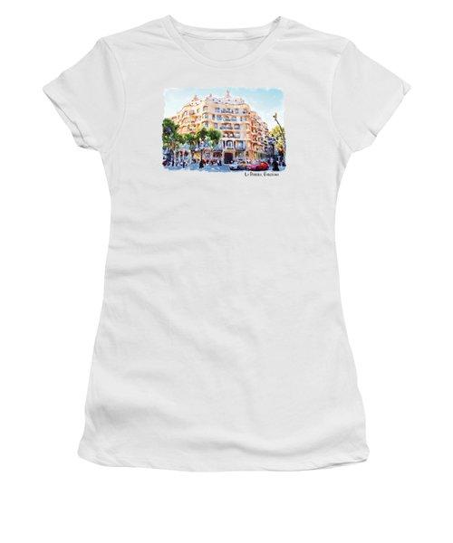 La Pedrera Barcelona Women's T-Shirt (Junior Cut) by Marian Voicu