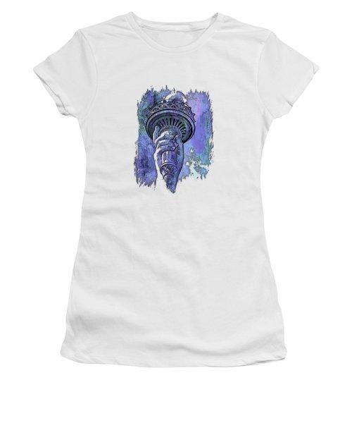 Light The Path Berry Blues 3 Dimensional Women's T-Shirt (Junior Cut) by Di Designs