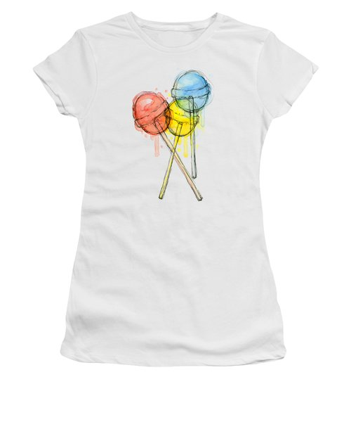 Lollipop Candy Watercolor Women's T-Shirt (Junior Cut) by Olga Shvartsur