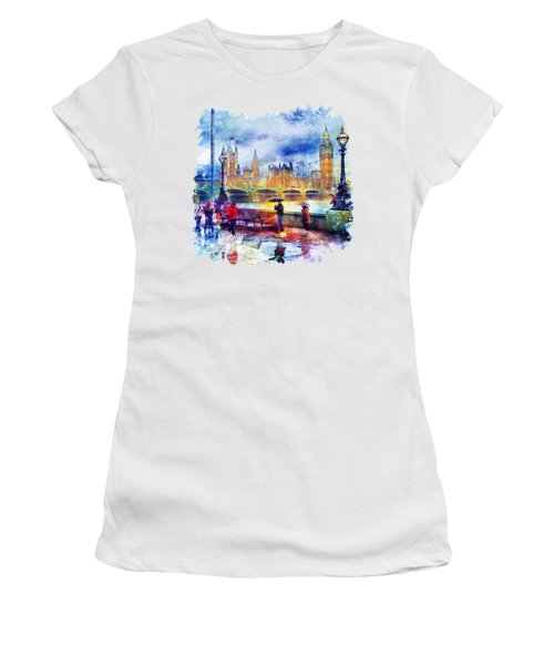London Rain Watercolor Women's T-Shirt (Junior Cut) by Marian Voicu