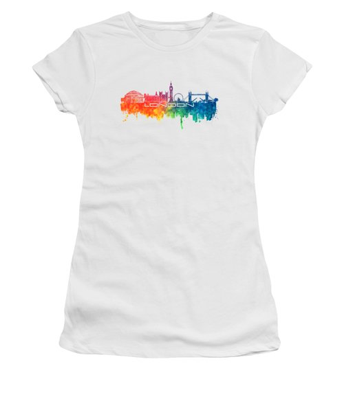 London Skyline City Color Women's T-Shirt (Junior Cut) by Justyna JBJart