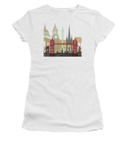 London Skyline Poster Women's T-Shirt (Junior Cut) by Pablo Romero