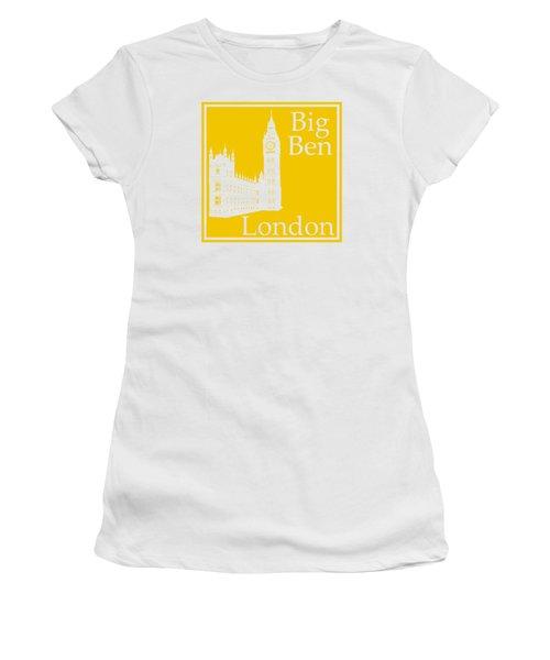 London's Big Ben In Mustard Yellow Women's T-Shirt (Junior Cut) by Custom Home Fashions