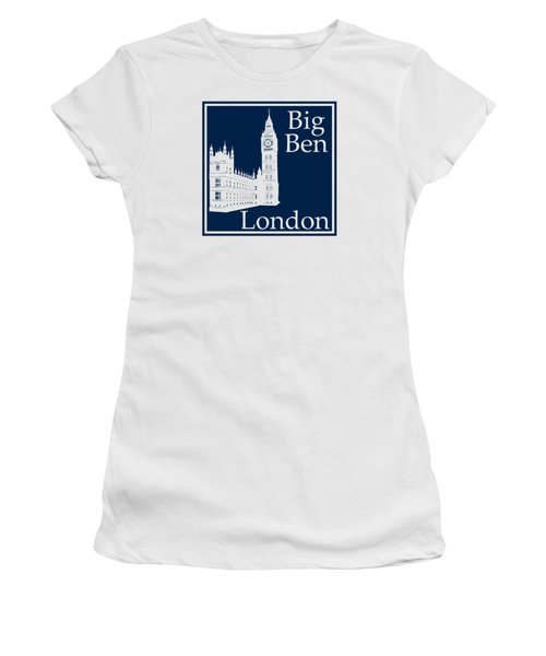 London's Big Ben In Oxford Blue Women's T-Shirt (Junior Cut) by Custom Home Fashions