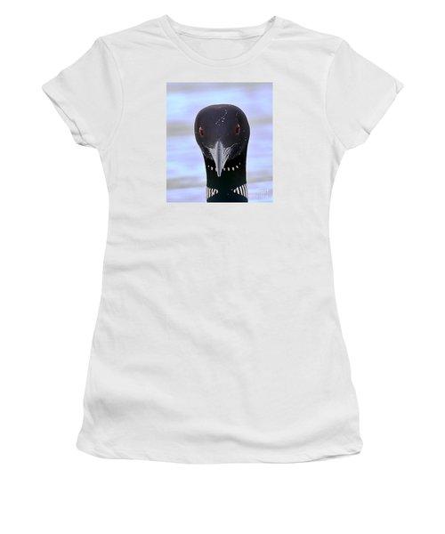 Loon Portrait Women's T-Shirt (Junior Cut) by Peter Gray