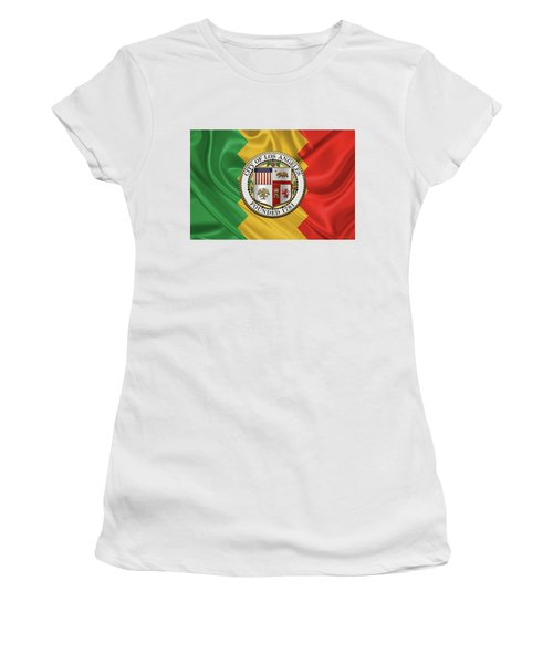 Los Angeles City Seal Over Flag Of L.a. Women's T-Shirt (Junior Cut) by Serge Averbukh