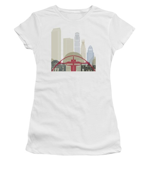 Los Angeles Skyline Poster Women's T-Shirt (Junior Cut) by Pablo Romero