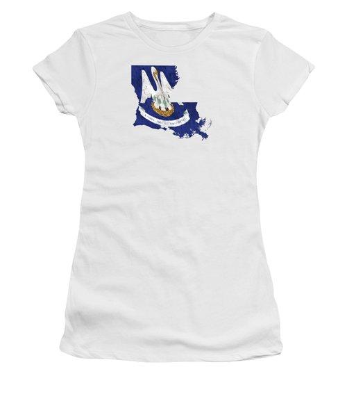 Louisiana Map Art With Flag Design Women's T-Shirt (Junior Cut) by World Art Prints And Designs