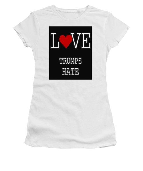 Love Trumps Hate Women's T-Shirt (Junior Cut) by Dan Sproul