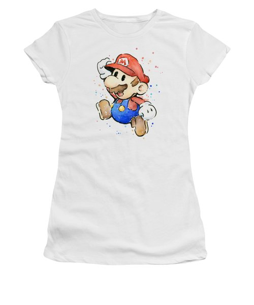Mario Watercolor Fan Art Women's T-Shirt (Junior Cut) by Olga Shvartsur
