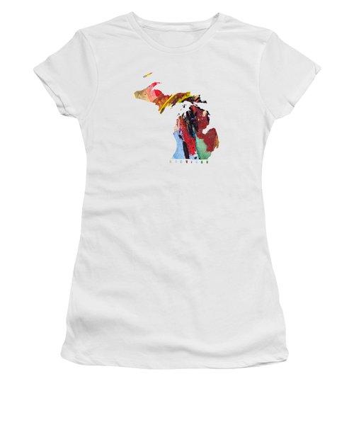 Michigan Map Art - Painted Map Of Michigan Women's T-Shirt (Junior Cut) by World Art Prints And Designs