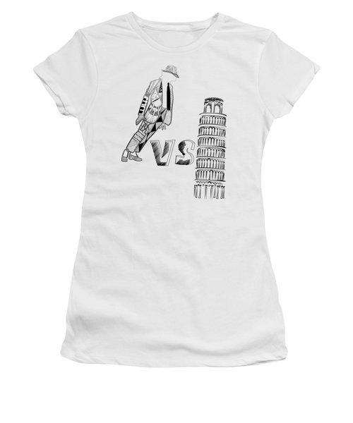 Mj Vs Pisa Women's T-Shirt (Junior Cut) by Serkes Panda