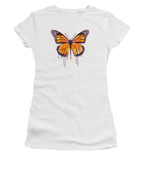 Monarch Butterfly Watercolor Women's T-Shirt (Junior Cut) by Marian Voicu