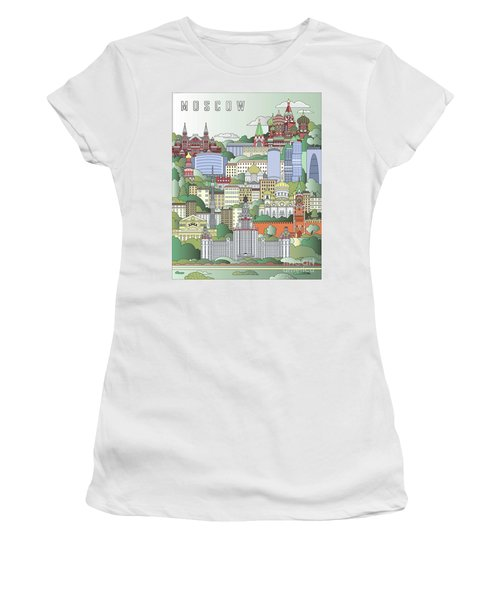 Moscow City Poster Women's T-Shirt (Junior Cut) by Pablo Romero